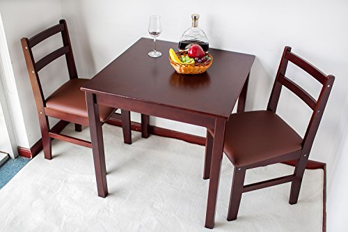 red brown natural wood 3 piece dining sets 2 person dinning table and cushion seat dinning. Black Bedroom Furniture Sets. Home Design Ideas