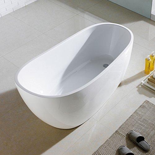 Maykke covina 67 inches modern oval acrylic bathtub for Oval tub sizes