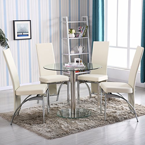 4Family 5 PC Round Glass Dining Table Set With 4 Chairs