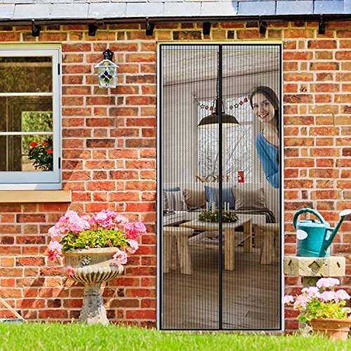 Homitt Magnetic Screen Door with Heavy Duty Mesh Curtain and Full