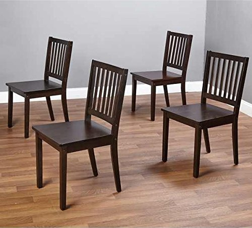 Slat Espresso Wooden Dining Chairs Set Of 4. A Good Dining