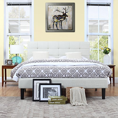 Classic Deluxe Ivory Linen Low Profile Platform Bed Frame