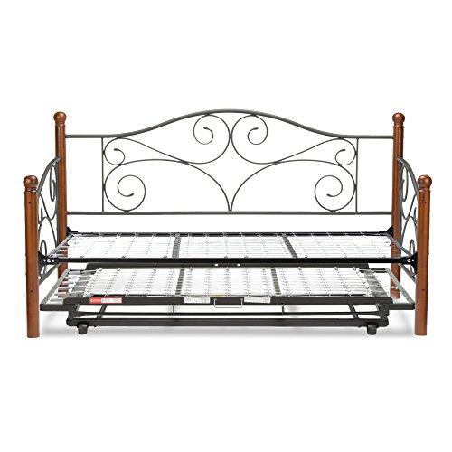 doral complete metal daybed with link spring and trundle bed pop up frame matte black finish. Black Bedroom Furniture Sets. Home Design Ideas