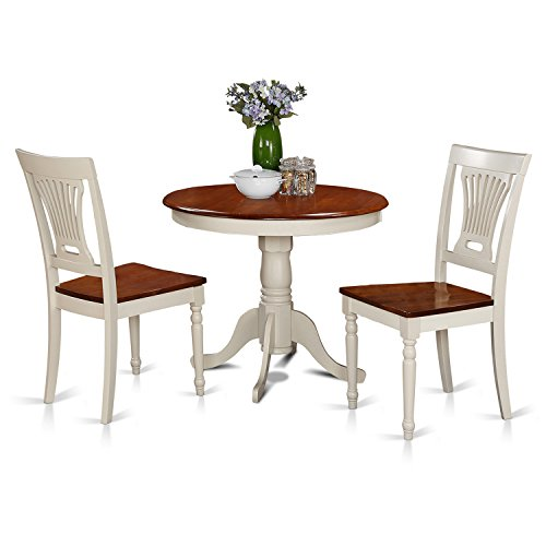 East west furniture anpl3 whi w 3 piece kitchen nook for Cherry dining room chairs