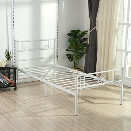 Simlife Twin Size Metal Bed Frame With Headboard And