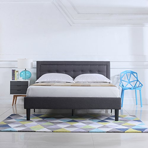 classic deluxe linen low profile platform bed frame with nailhead trim headboard design queen. Black Bedroom Furniture Sets. Home Design Ideas