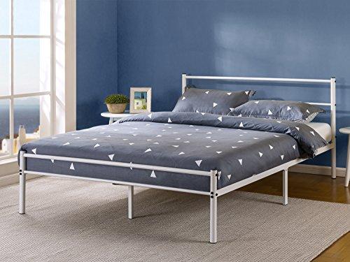 White Metal Bed Queen: Zinus OLB-QLPBHF-12Q White Metal Platform Bed Frame, Queen