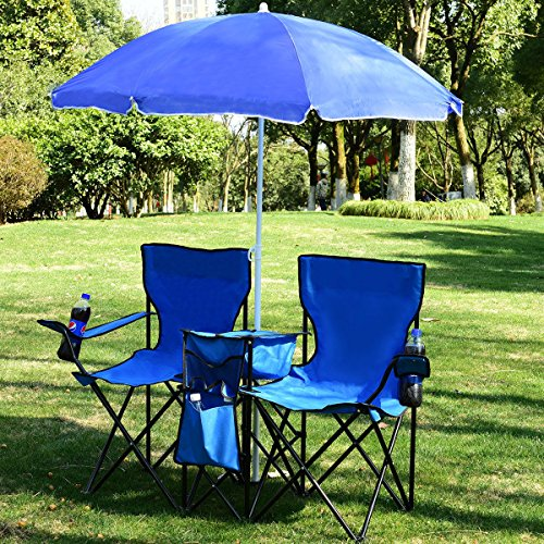 Peachy Double Folding Camping Chair With Umbrella Goplus Portable Uwap Interior Chair Design Uwaporg