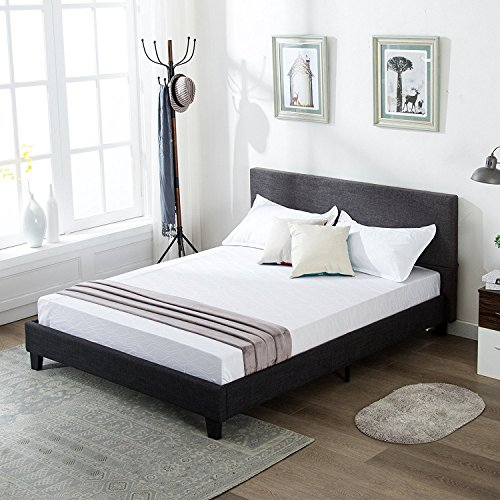 Mecor Upholstered Linen Full Platform Bed Metal Frame With