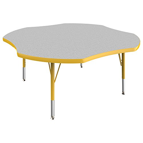 Ecr4kids Everyday 48 Clover School Activity Table Toddler Legs W Swivel Glides Adjule Height 15 23 Inch Grey Yellow