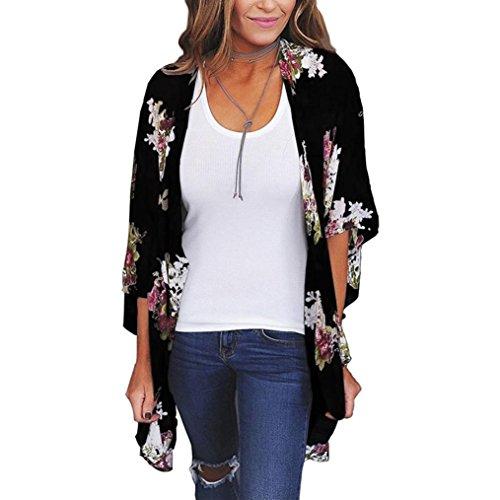 ca270c9a6aca9 CUCUHAM Women Chiffon Loose Shawl Print Kimono Cardigan Top Cover Up Blouse  Beachwear