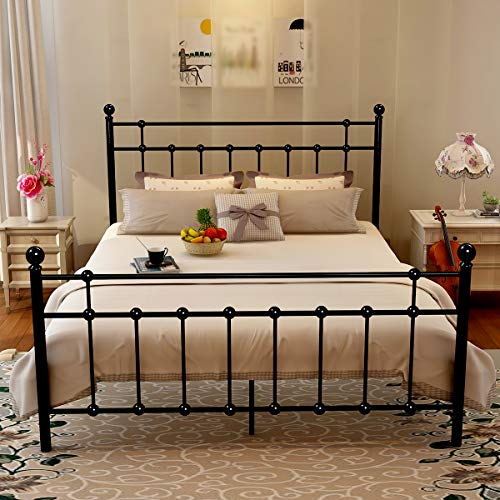 Metal queen bed frame platform with steel headboard and - Joanna gaines bedding ideas ...