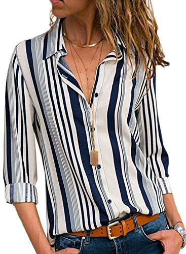 32295bbdb735 Dearlovers color block Stripes T Shirt Blouse Casual Tops for Womens. Button  down long Sleeve Striped Shirts Blouses. Package Includes  1 Shirt.