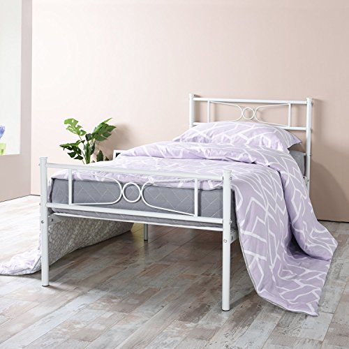 gime twin bed frame yanni lesile easy set up premium metal platform mattress foundation box. Black Bedroom Furniture Sets. Home Design Ideas