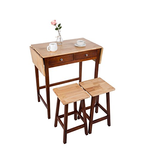 Kitchen Table With Rolling Chairs: Peach Tree Foldable Kitchen Table 3-Piece Dining Set