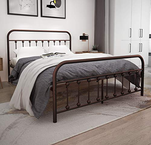 metal bed frame queen size with lantern headboard and footboard mediterranean style iron art. Black Bedroom Furniture Sets. Home Design Ideas