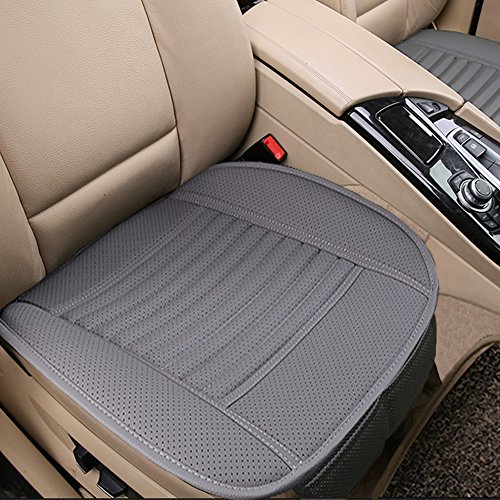Black Dr.OX 2PCS Four Seasons General Pu Leather Bamboo Charcoal Breathable Comfortable Car Interior Seat Cushion Covers Pad Mat
