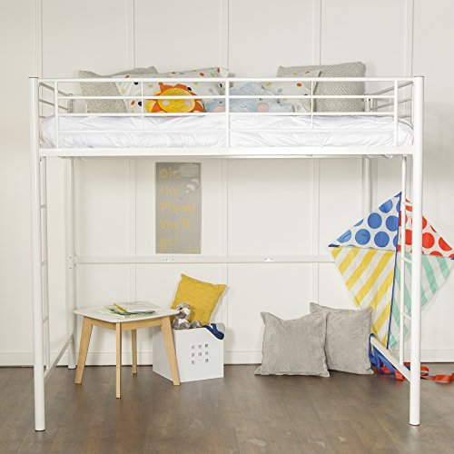 New Full Size Loft Bed White Metal Finish Luckytaker