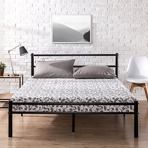 zinus metal platform bed frame with headboard and footboard premium steel slat support. Black Bedroom Furniture Sets. Home Design Ideas
