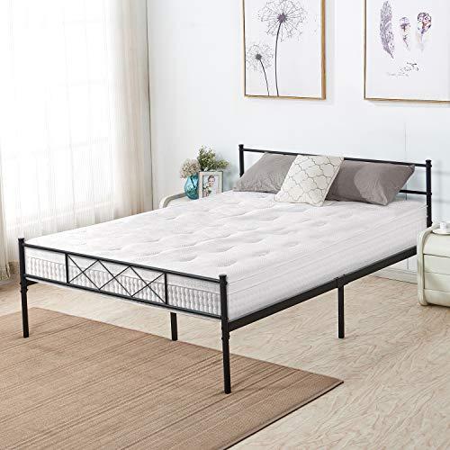 Vecelo Metal Platform Bed Frame Full Size With Headboard